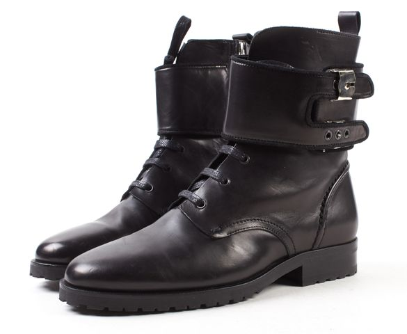 IRO Black Leather Lace Up Combat Boots