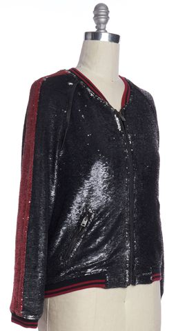 IRO Black Sequin Bomber Jacket