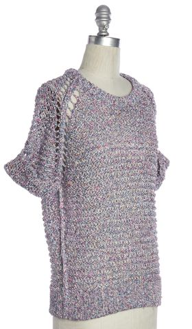 IRO Purple Multi Color Crochet Knit Knit Top Size 1