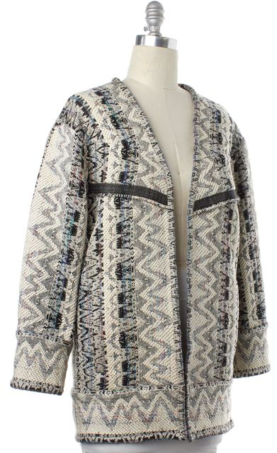 IRO Ivory Black Multi Color Geometric Knit Open Coat