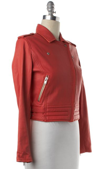 IRO Orange Leather Silver Zip Zafir Moto Jacket
