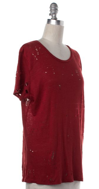 IRO Red Linen Distressed T-Shirt