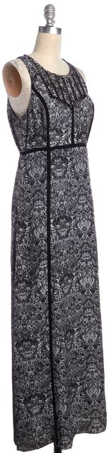 IRO Black White Geometric Print Sleeveless Long Dress