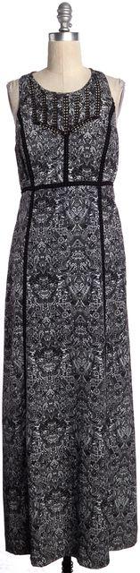 IRO Black White Geometric Print Sleeveless Long Dress