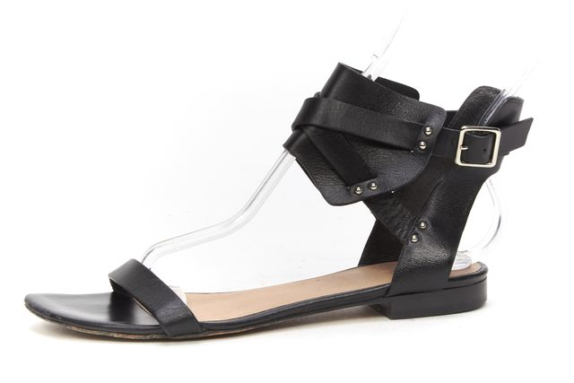 IRO Black Leather Ankle Strap Stud Embellished Casual Sandals