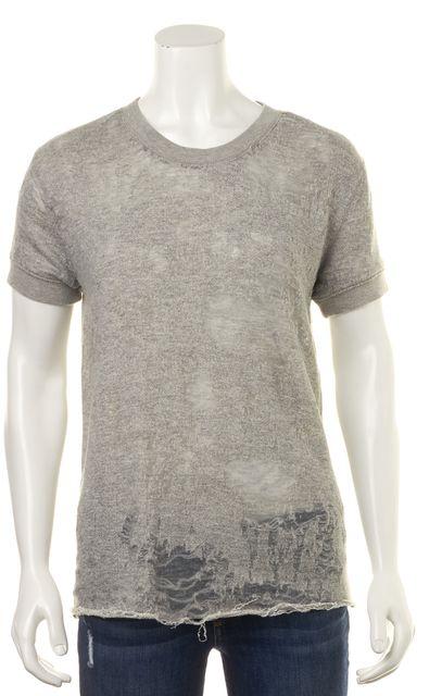 IRO Gray Ripped Nasta Short Sleeve Sheer Sweatshirt Top