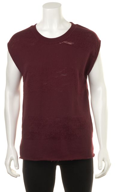 IRO Red Lewis Casual Distressed Stripped Knit Sweatshirt Top