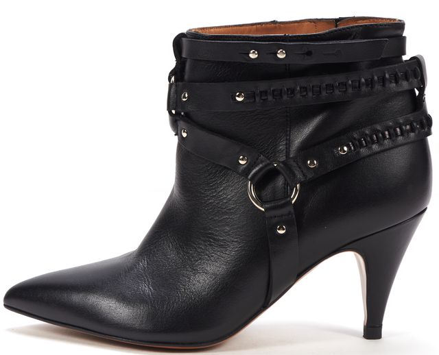 IRO Black Leather Silver Buckle Pointed Toe Heeled Ankle Boots
