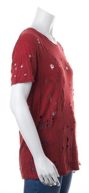 IRO Red Distressed Linen T-Shirt Top