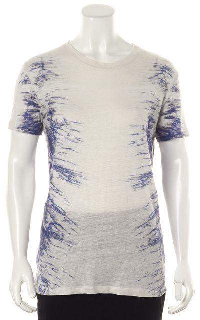 IRO White Blue Gray Abstract Linen Gella Short Sleeve Basic T-Shirt