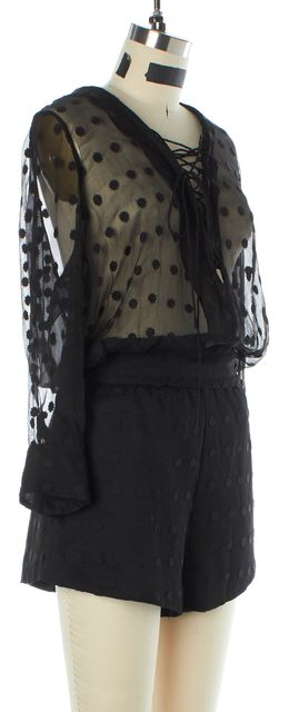 IRO Black Embroidered Geometric Sheer Romper