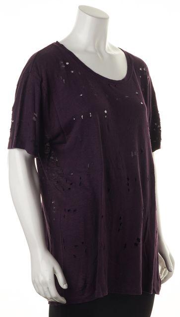 IRO Purple Linen Cutout Short Sleeve T-Shirt