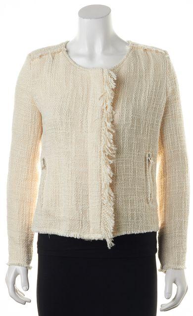 IRO Ivory Boucle Fringe Trim Cotton Cauleyspe Basic Jacket