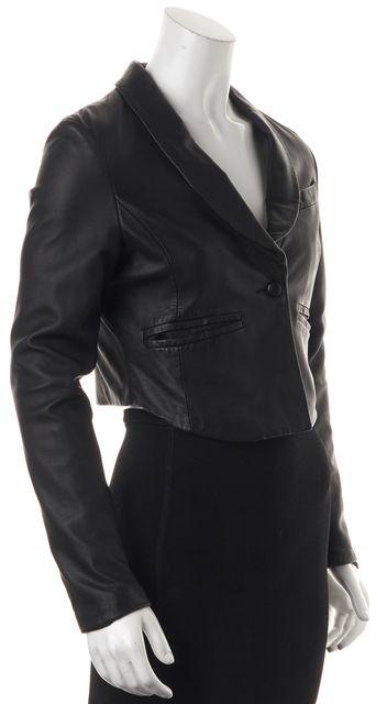 IRO Black Lamb Leather One Button Cropped Blazer Style Jacket