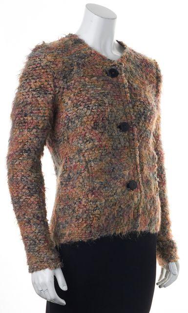 IRO Beige Multi Boucle Tweed Leather Trim Helga Button Up Jacket