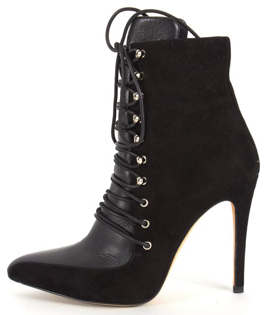 IRO Black Suede Leather Lace-Up Pointed Toe Kansas Bootie