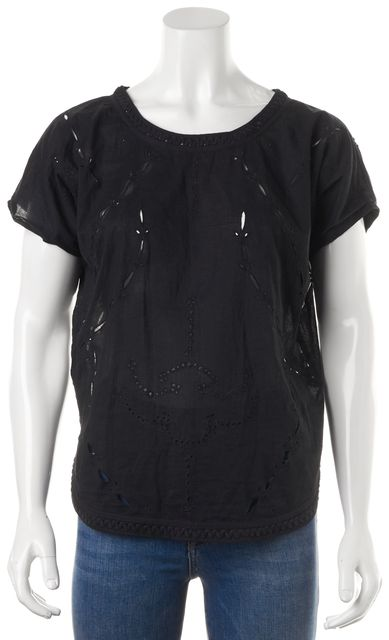 IRO Black Cotton Eyelet Embroidered Short Sleeve Blouse Top