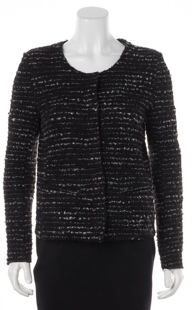 IRO Black White Wool Knit Scoop Neck Snap Button Molly Jacket