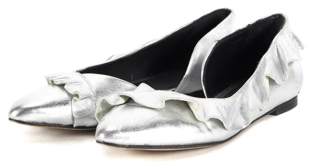 IRO Silver Metallic Leather Ruffle Pointed Toe d'Orsay Flats