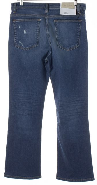 IRO Blue Medium Wash Distressed Denim High Rise Flare Jeans