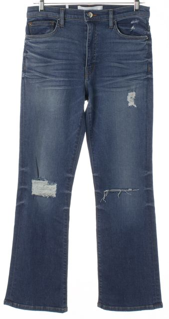 IRO Blue Distressed Denim High Rise Flare Jeans