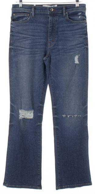 IRO Blue Distressed Denim High Rise Flare Jeans