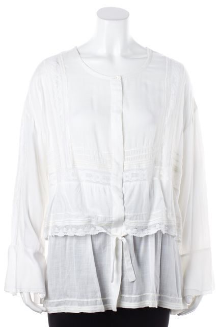 ... IRO White Crochet Apie Tiered Bell Sleeve Blouse