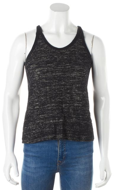 IRO Black Gray Sleeveless Speckled Wool Distressed Trim Pull On Tank Top