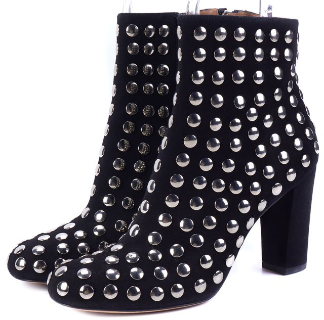IRO Black Embellished Suede Bootie Boots