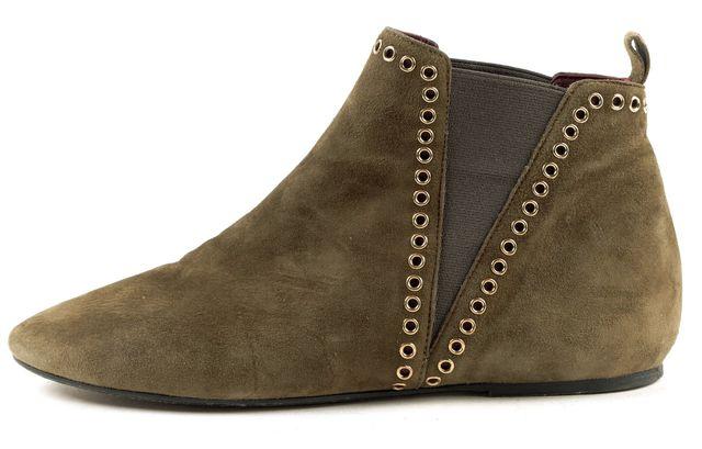 ISABEL MARANT Olive Green Suede Gold Grommet Embellished Ankle Boots