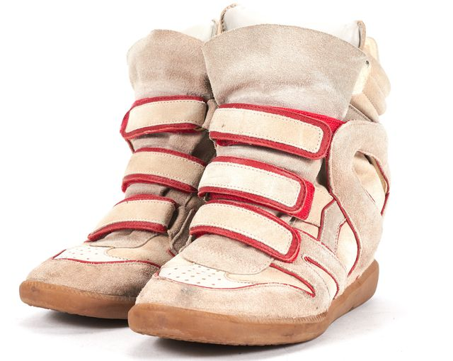 ISABEL MARANT Red Beige Suede Wila Concealed Wedge Sneakers
