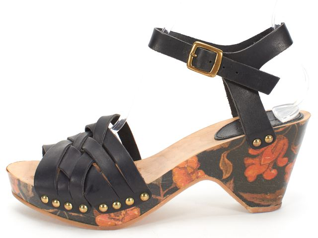 ISABEL MARANT Black Woven Leather Floral Wooden Ankle Strap Clogs