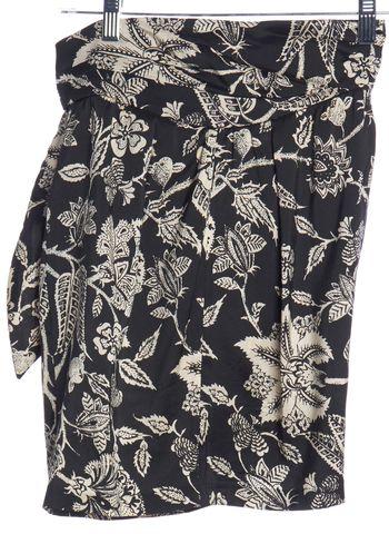 ISABEL MARANT Black Ivory Floral Print Silk Wrap Skirt
