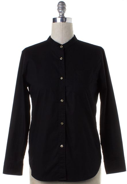 ISABEL MARANT Black Mandarin Collar Button Down Shirt
