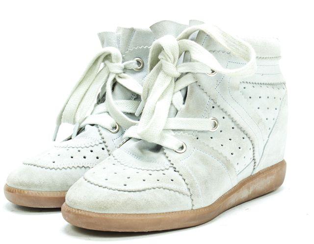 ISABEL MARANT Gray Blue Suede Sneaker Wedges