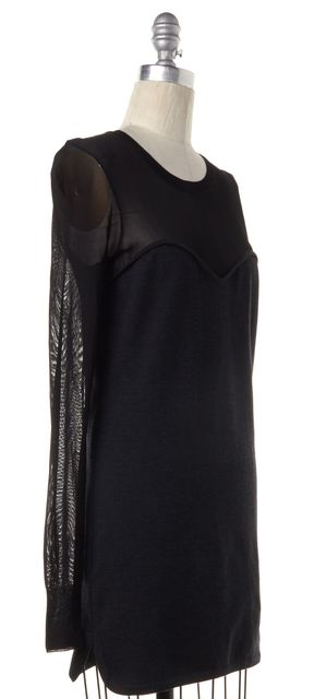 ISABEL MARANT Gray Black Wool Knit Long Sleeve Sheath Dress