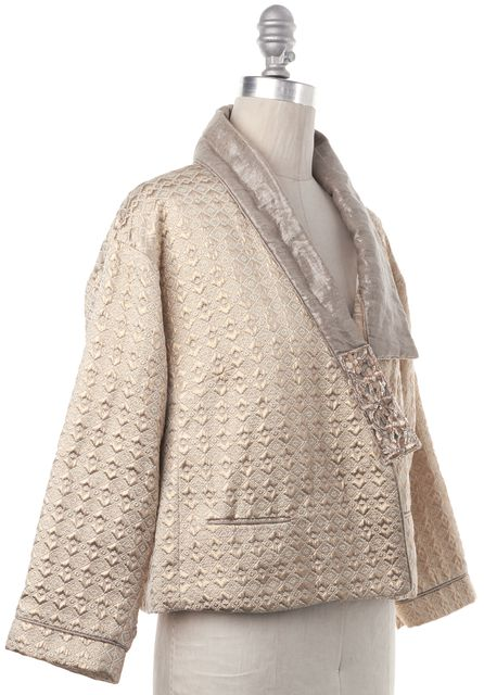 ISABEL MARANT Gold Geometric Quilted Metallic Open Front Jacket