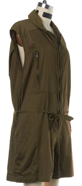 ISABEL MARANT Olive Green Front Zipper Drawstring Jumpsuit