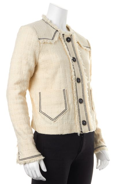 ISABEL MARANT Ivory Cotton Tween Fringe Trim Jacket