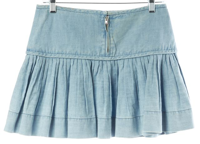 ISABEL MARANT Blue Light Wash Cotton Linen Pleated Mini Skirt