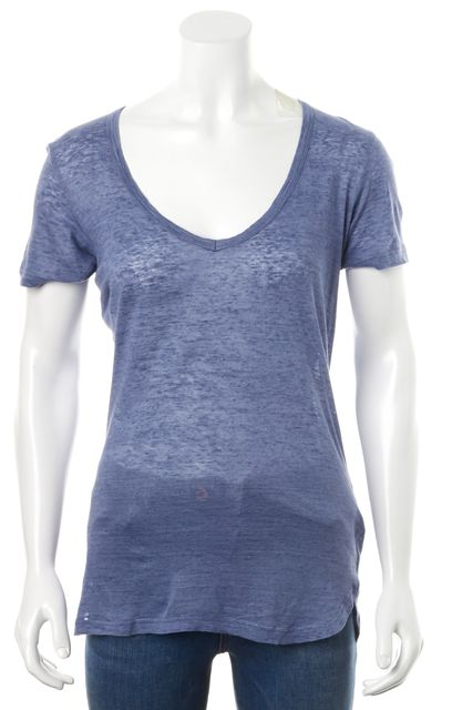 ISABEL MARANT Blue Linen V-Neck Short Sleeve Basic Tee T-Shirt