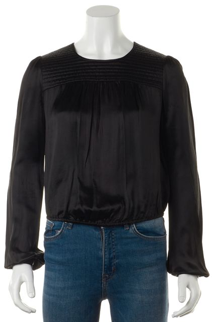 ISABEL MARANT Black Quilted Yoke Long Sleeve Blouse Top
