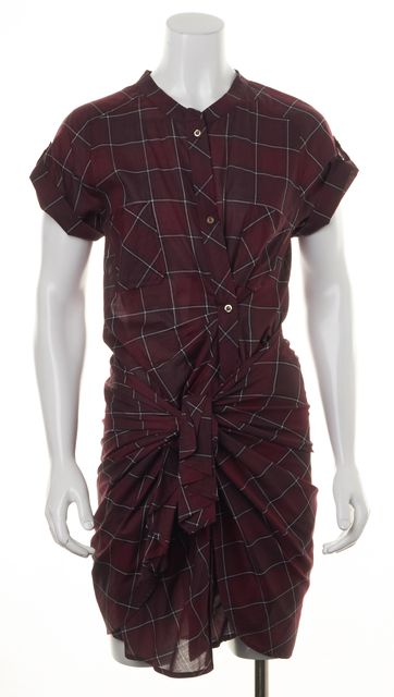ISABEL MARANT Burgundy Red Plaid Cotton Wrap Tie Front Shirt Dress