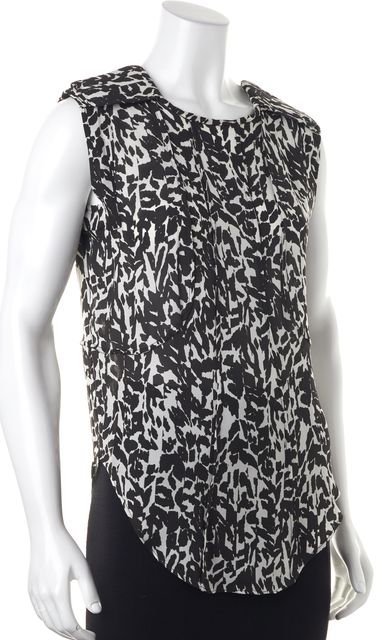 ISABEL MARANT Black White Animal Print Silk Blouse Top
