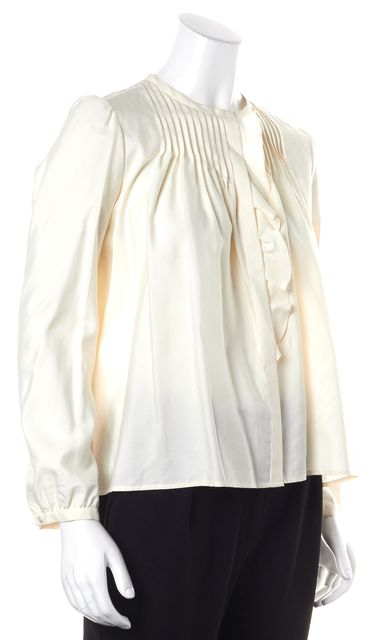 ISABEL MARANT Ivory Silk Pleated Ruffled Blouse Top
