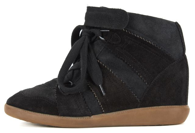ISABEL MARANT Black Suede Lace Up Hidden Wedge Casual Sneaker