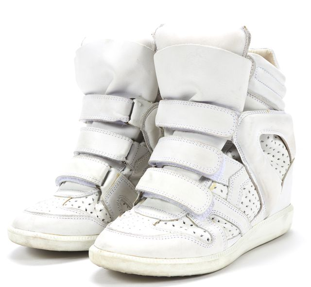 ISABEL MARANT White Leather Wila Concealed Wedge High-Top Sneakers