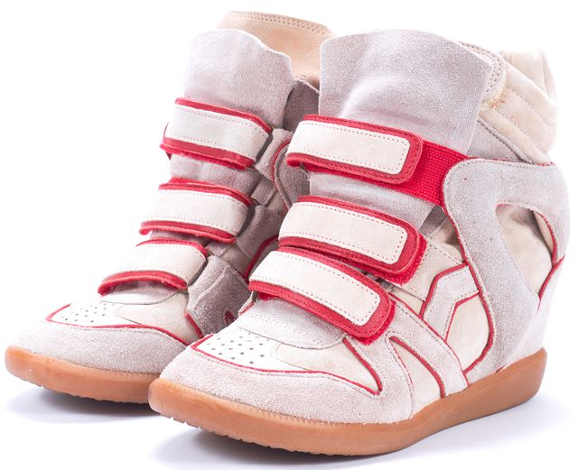 ISABEL MARANT Gray Red Suede Hidden Wedge Velcro High-Top Sneaker