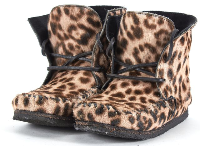 ISABEL MARANT Brown Wild Arapaho Animal Print Calf Hair Moccasin Boots
