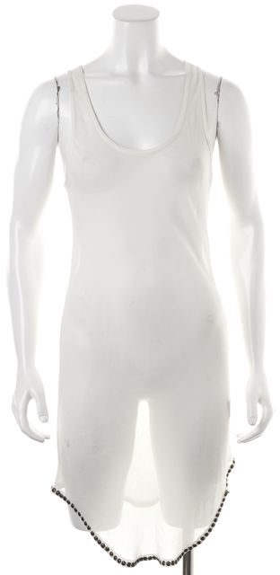 ISABEL MARANT White Silk Sheer Grommet Trimmed Beach Cover-Up Dress